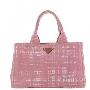 Prada Pink Printed Canvas Canapa Satchel Bag