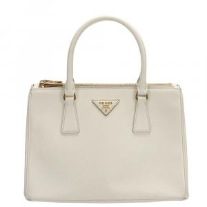 Prada Cream Saffiano Lux Leather Galleria Double Zip Bag