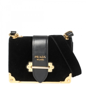 Prada Black Velvet and Leather Cahier Shoulder Bag