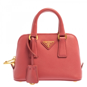 Prada Coral Pink Saffiano Lux Leather Mini Promenade Crossbody Bag
