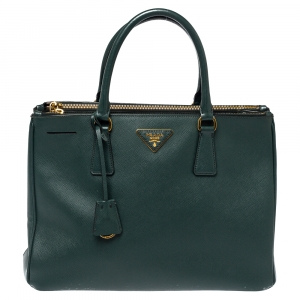 Prada Deep Green Saffiano Lux Leather Medium Double Zip Tote