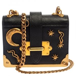 Prada Black Saffiano Leather Astrology Celestial Cahier Crossbody Bag