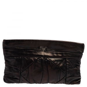 Prada Black Leather Pleated Clutch