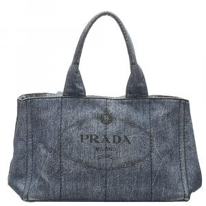Prada Blue Denim Canapa Logo Bag
