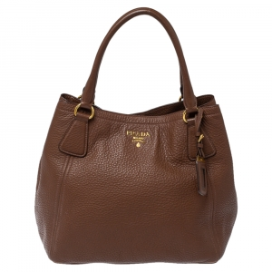 Prada Brown Vitello Daino Leather Open Tote