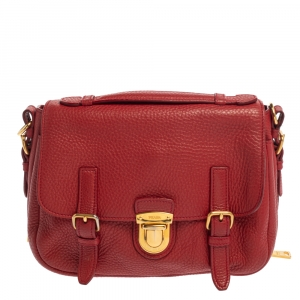 Prada Red Vitello Daino Leather Pushlock Flap Top Handle Bag