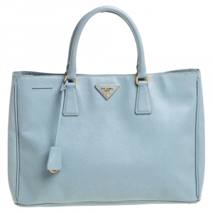 Prada Blue Saffiano Leather Galleria Double Zip Tote