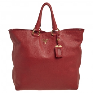 Prada Red Vitello Phenix Leather Shopper Tote