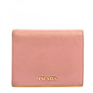 Prada Pink Saffiano Leather Metal Flap Wallet