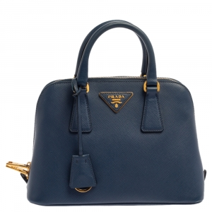 Prada Blue Saffiano Lux Leather Small Promenade Crossbody Bag