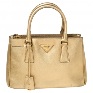 Prada Gold Saffiano Patent Leather Mini Double Zip Tote