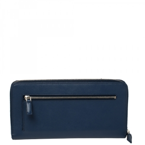 Prada Blue Saffiano Leather Zip Around Agenda Cover