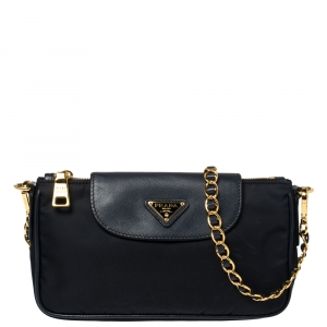 Prada Navy Blue Tessuto and Saffiano Leather Crossbody Bag