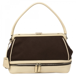 Prada Dark Brown/Cream Canvas and Leather Canapa Cerniera Frame Bag