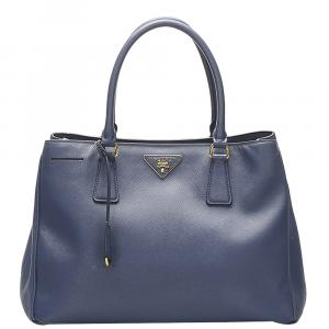 Prada Blue Saffiano Lux Leather Double Zip Galleria Tote Bag