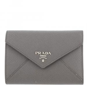 Prada Grey Saffiano Leather Envelope Small Wallet