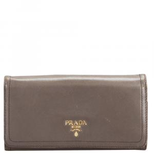 Prada Brown Leather Long Wallet
