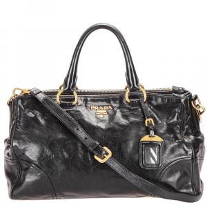 Prada Black Glazed Leather Double Zip Top Handle Bag