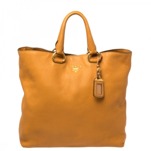 Prada Tan Vitello Daino Leather Shopper Tote