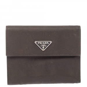 Prada Dark Brown Nylon Flap Compact Wallet