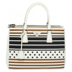 Prada Tricolor Striped and Rivet Detail Saffiano Lux Leather Medium Double Zip Tote