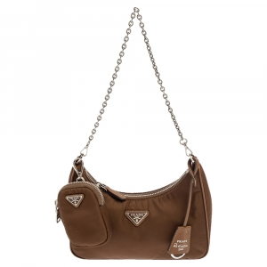 Prada Brown Nylon Re-Edition 2005 Shoulder Bag