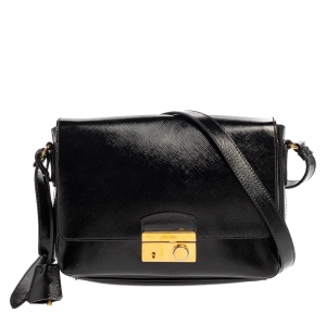 Prada Black Saffiano Vernice Leather Sound Shoulder Bag