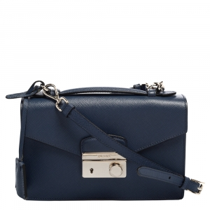 Prada Blue Saffiano Leather Mini Sound Top Handle Bag