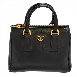 Prada Black Saffiano Leather Mini Double Zip Crossbody Bag