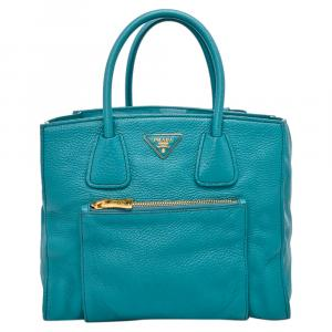 Prada Blue Leather Glace Tote Bag