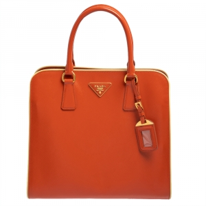 Prada Orange Saffiano Vernice Leather Tote