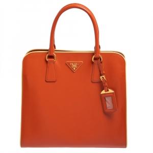 حقيبة يد برادا جلدسافيانو فيرنيس برتقالي