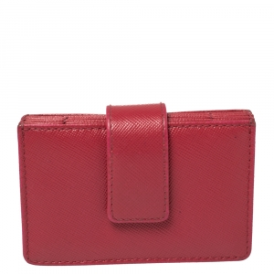 Prada Pink Saffiano Leather Accordian Card Case