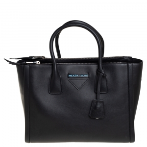 Prada Black Leather Concept Double Zip Tote