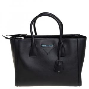 حقيبة يد برادا كونسيبت سحاب مزدوج جلد أسود