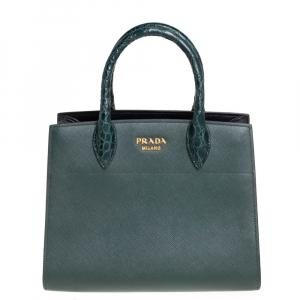 حقيبة يد برادا بيبلوثاك يد جلد تمساح وجلد خضراء داكنة