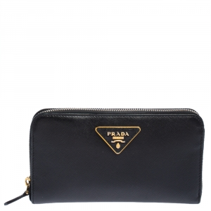 Prada Black Saffiano Lux Leather Zip Around Wallet