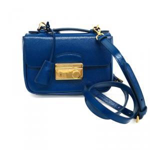 Prada Blue Patent Saffiano Verinic Crossbody