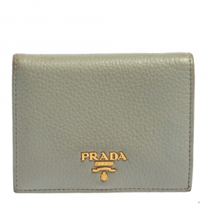 Prada Grey Vitello Leather Portafoglio Vertical Wallet