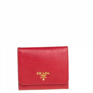 Prada Red Saffiano Leather Tri Fold Wallet