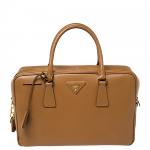 Prada Tan Saffiano Lux Leather Bauletto Satchel