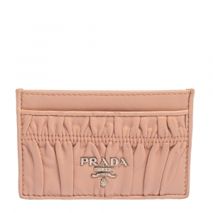 Prada Pink Nappa Gaufre Leather Card Holder