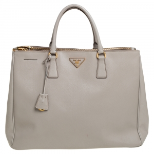 Prada Grey Saffiano Lux Leather Executive Galleria Tote