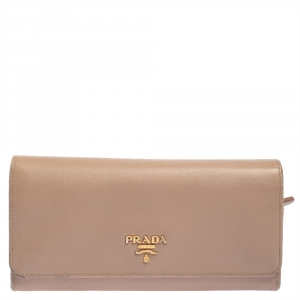 Prada Beige Saffiano Lux Leather Flap Continental Wallet