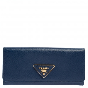 Prada Blue Saffiano Leather Flap Continental Wallet