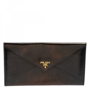 Prada Black Leather Envelope Clutch