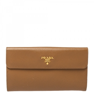Prada Tan Saffiano Lux Leather Logo Flap Continental Wallet