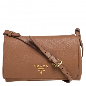 Prada Tan Vitello Daino Leather Flap Shoulder Bag