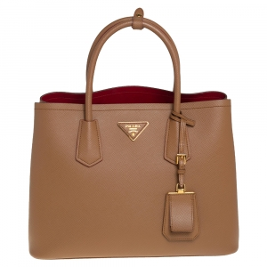 Prada Caramel Brown Saffiano Cuir Leather Medium Double Tote