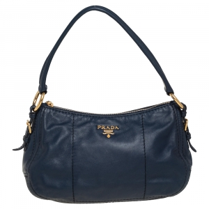 Prada Navy Blue Leather Zip Top Hobo